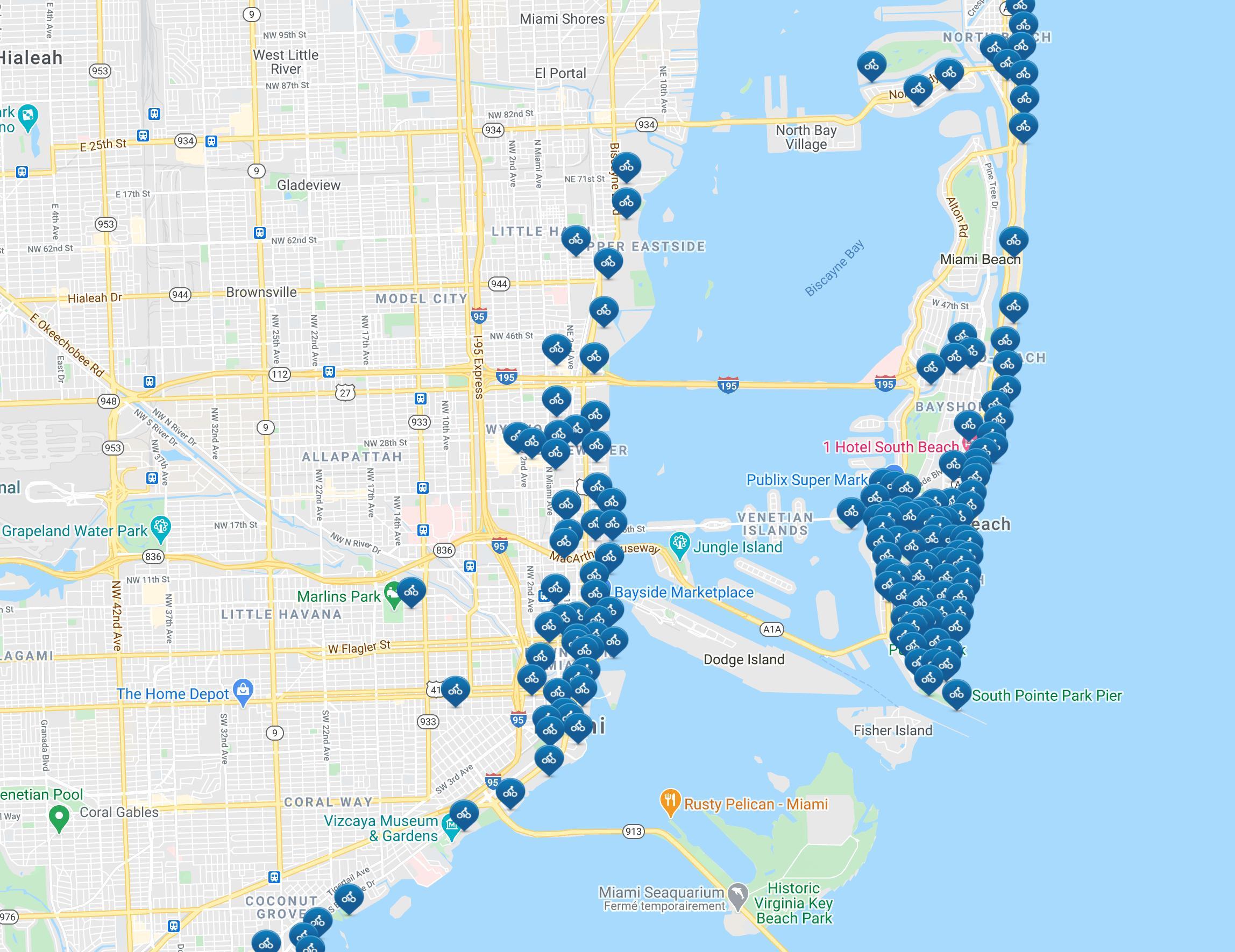 miami térkép Citi kerékpár, Miami térkép   Miami citi kerékpáros térkép  miami térkép